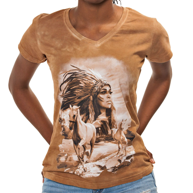 La Camiseta Indian de mujer tiene un dibujo exclusivo del rostro de una india americana y caballos galopando.