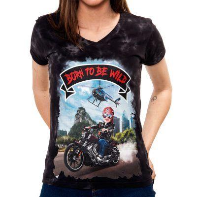 La Camiseta Freeborn de mujer tiene un dibujo exclusivo de un niño rebelde conduciendo una moto por Río de Janeiro.