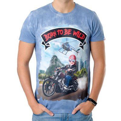 La Camiseta Freeborn de hombre tiene un dibujo exclusivo de un niño rebelde conduciendo una moto por Río de Janeiro.