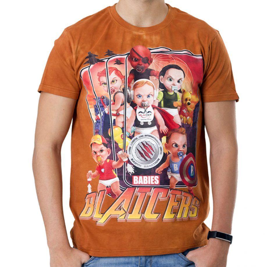 La Camiseta Blaicers de hombre tiene un dibujo original de diferentes bebés superhéroes.